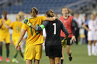 Seattle, WA - Thursday July 27, 2017: Emily van Egmond and Lydia Williams during a 2017 Tournament of Nations match between the women's national teams of the United States (USA) and Australia (AUS) at CenturyLink Field.