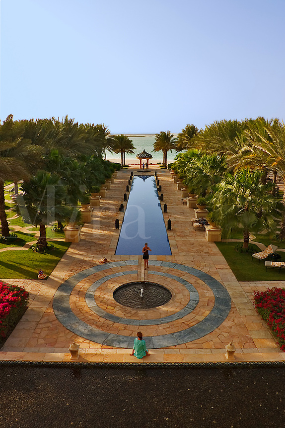 Dubai, United Arab Emirates. Royal Mirage Hotel. Arabian style formal garden looking out toward the Gulf..