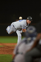 Peoria Javelinas relief pitcher Andrew Case (50), of the Toronto Blue Jays organization, follows through on his delivery during an Arizona Fall League game against the Scottsdale Scorpions on October 20, 2017 at Scottsdale Stadium in Scottsdale, Arizona. the Javelinas defeated the Scorpions 2-0. (Zachary Lucy/Four Seam Images)