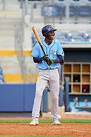 Tampa Bay Rays Alejandro Pie (64) bats during a Minor League Spring Training game against the Atlanta Braves on June 1, 2021 at Charlotte Sports Park in Port Charlotte, Florida.  (Mike Janes/Four Seam Images)