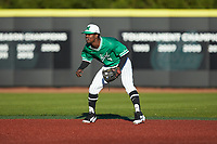 Marshall Thundering Herd shortstop Elvis Peralta Jr. (7) on defense against the Charlotte 49ers at Hayes Stadium on March 22, 2019 in Charlotte, North Carolina. The Thundering Herd defeated the 49ers 12-6. (Brian Westerholt/Four Seam Images)