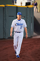 Omaha Storm Chasers manager Brian Poldberg (27) before the game against the Round Rock Express at Werner Park on May 27, 2018 in Papillion , Nebraska. Round Rock defeated Omaha 8-3. (Stephen Smith/Four Seam Images)