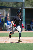 Chicago White Sox outfielder Steele Walker (5) runs to first base during an Instructional League game against the Kansas City Royals at Camelback Ranch on September 25, 2018 in Glendale, Arizona. (Zachary Lucy/Four Seam Images)