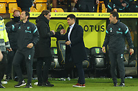 20th April 2021; Carrow Road, Norwich, Norfolk, England, English Football League Championship Football, Norwich versus Watford; Norwich City Manager Daniel Farke speaks with Watford Manager Xisco after the 0-1 loss