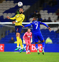 28th September 2021; Cardiff City Stadium, Cardiff, Wales;  EFL Championship football, Cardiff versus West Bromwich Albion; Kyle Bartley of West Bromwich Albion jumps to head the ball