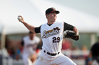 Quad Cities River Bandits relief pitcher David Schmidt (29) during a game against the Bowling Green Hot Rods on July 24, 2016 at Modern Woodmen Park in Davenport, Iowa.  Quad Cities defeated Bowling Green 6-5.  (Mike Janes/Four Seam Images)