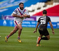 22nd August 2020; The John Smiths Stadium, Huddersfield, Yorkshire, England; Rugby League Coral Challenge Cup, Catalan Dragons versus Wakefield Trinity; Adam Tangata of Wakefield Trinity with the ball