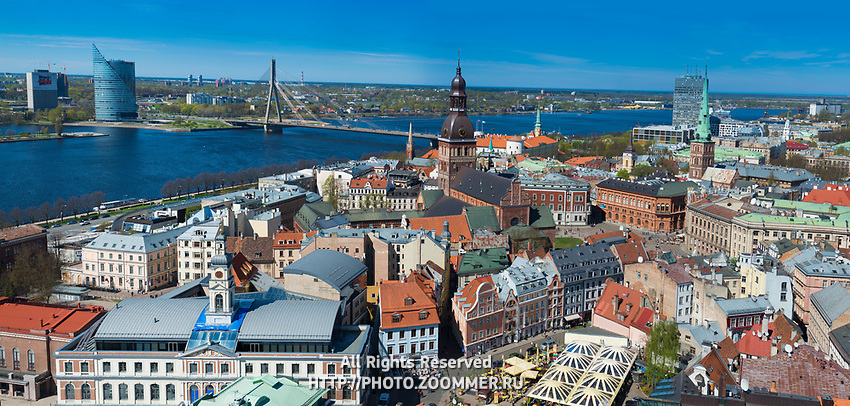 Riga classic panorama with Dome cathedral and square, Riga, Latvia