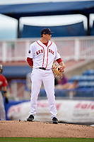 Salem Red Sox starting pitcher Jake Thompson (41) looks in for the sign during the first game of a doubleheader against the Potomac Nationals on June 11, 2018 at Haley Toyota Field in Salem, Virginia.  Potomac defeated Salem 9-4.  (Mike Janes/Four Seam Images)