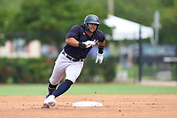 New York Yankees Jasson Dominguez (25) running the bases after hitting a triple during an Extended Spring Training game against the Philadelphia Phillies on June 22, 2021 at the Carpenter Complex in Clearwater, Florida.  (Mike Janes/Four Seam Images)