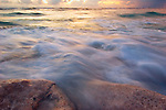 Waves breaking on the beach at sunset, Gielop Island, Ulithi Atoll, Yap, Micronesia, Pacific Ocean