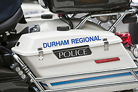 Durham Regional Police motorcycle is seen during a police memorial parade in Ottawa Sunday September 26, 2010.