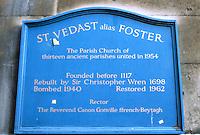 Sir Christopher Wren: Plaque, St. Vedast, Foster Lane, City 1670-73.