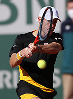 9th October 2020, Roland Garros, Paris, France; French Open tennis, Roland Garr2020;  Diego Schwartzman of Argentina hits a return during the mens singles semifinal match against Rafael Nadal of Spain at the French Open tennis tournament 2020 at Roland Garros