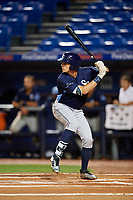Charlotte Stone Crabs designated hitter Josh Lowe (28) at bat during the second game of a doubleheader against the St. Lucie Mets on April 24, 2018 at First Data Field in Port St. Lucie, Florida.  St. Lucie defeated Charlotte 5-3.  (Mike Janes/Four Seam Images)