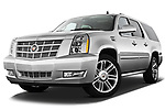 Low aggressive front three quarter view of a 2007 - 2014 Cadillac Escalade ESV Premium SUV