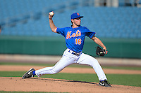 Pitcher Bradley Wilpon (16) of Brunswick High School in Greenwich, Connecticut playing for the New York Mets scout team during the East Coast Pro Showcase on August 1, 2013 at NBT Bank Stadium in Syracuse, New York.  (Mike Janes/Four Seam Images)