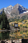 A large-format view camera at Maroon Lake and the Maroon Bells Peaks, west of Aspen, Colorado.