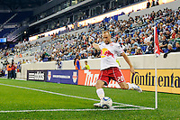 Joel Lindpere (20) of the New York Red Bulls. Real Salt Lake defeated the New York Red Bulls 3-1 during a Major League Soccer (MLS) match at Red Bull Arena in Harrison, NJ, on September 21, 2011.