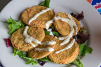 New Orleans, Louisiana.  Fried Green Tomatoes and Remoulade.  Elizabeth's Restaurant, Bywater District.