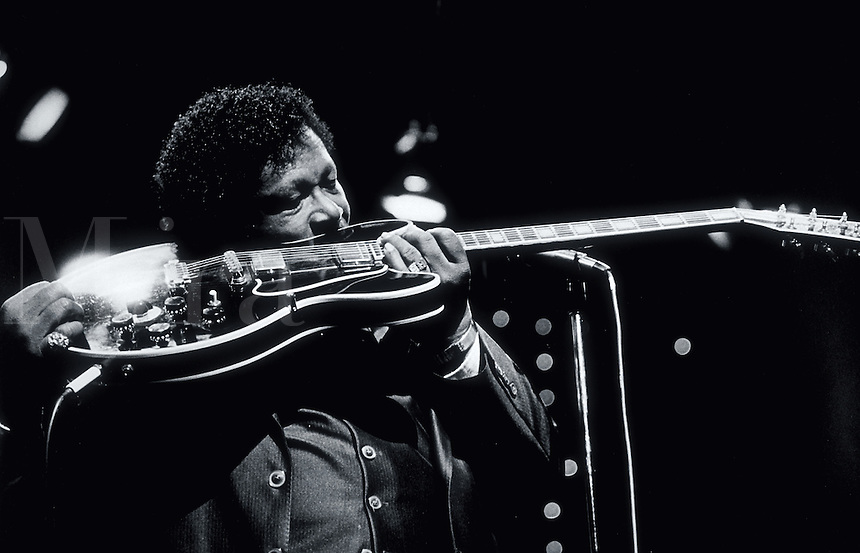 Musician B.B. King performs in concert with his trademark guitar - Lucille.