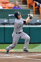 Center fielder Kody Ruedisili (22) of the Wofford College Terriers bats in a game against the Clemson University Tigers on Tuesday, March 1, 2016, at Doug Kingsmore Stadium in Clemson, South Carolina. Clemson won, 7-0. (Tom Priddy/Four Seam Images)