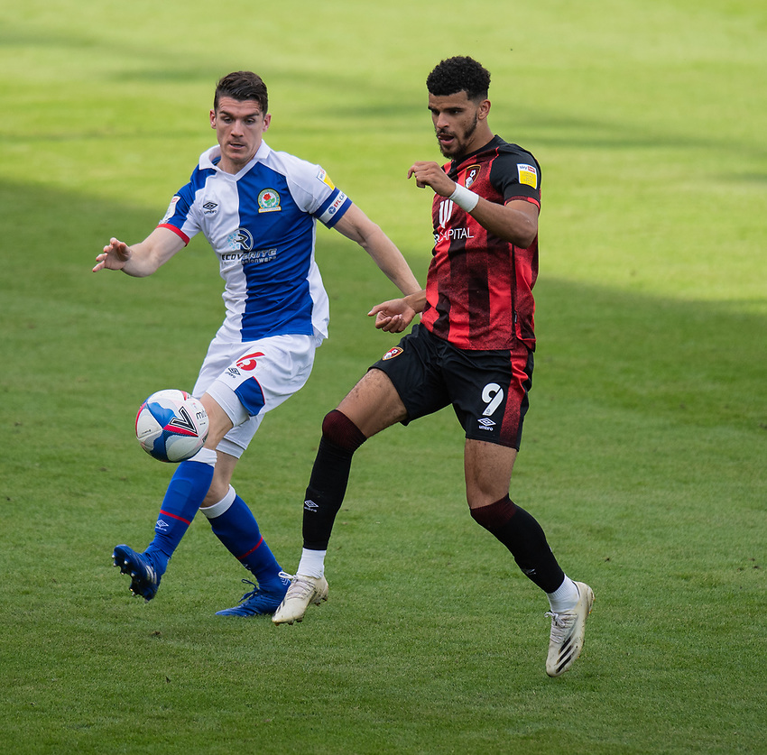Blackburn Rovers' Darragh Lenihan (left) battles for possession with Bournemouth's Dominic Solanke (right) <br /> <br /> Photographer David Horton/CameraSport <br /> <br /> The EFL Sky Bet Championship - Bournemouth v Blackburn Rovers - Saturday September 12th 2020 - Vitality Stadium - Bournemouth<br /> <br /> World Copyright © 2020 CameraSport. All rights reserved. 43 Linden Ave. Countesthorpe. Leicester. England. LE8 5PG - Tel: +44 (0) 116 277 4147 - admin@camerasport.com - www.camerasport.com