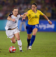 Amy Rodriguez, Erika. The USWNT defeated Brazil, 1-0, to win the gold medal during the 2008 Beijing Olympics at Workers' Stadium in Beijing, China.