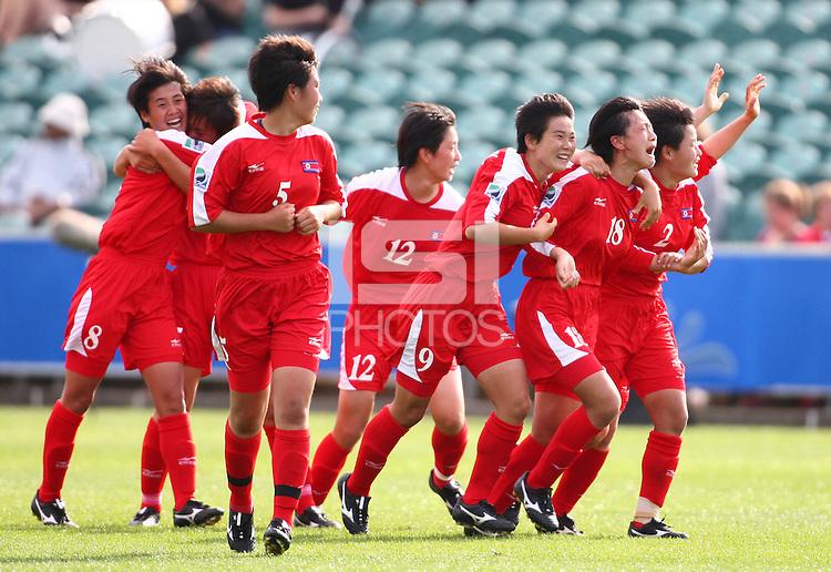 Korea DPR players celebrate a goal. USA v Korea Republic. FIFA U-17 Women's World Cup Final. North Harbour Stadium, Auckland, Sunday 16 October 2008. Photo: Simon Watts/PHOTOSPORT