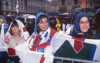 comizio Lega Nord, piazza Duomo Milano, Rosy Mauro, 1994