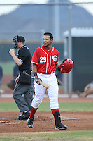 Leandro Santana (29) of the AZL Reds returns to the dugout after striking out during a game against the AZL Brewers at Cincinnati Reds Spring Training Complex on July 5, 2015 in Goodyear, Arizona. Reds defeated the Brewers, 9-4. (Larry Goren/Four Seam Images)