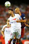 FC Barcelona's Javier Mascherano (r) and Sevilla CF's Coke Andujar during Spanish Kings Cup Final match. May 22,2016. (ALTERPHOTOS/Acero)