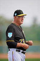 Pittsburgh Pirates coach Steve Blass (28) during the teams first Spring Training practice on February 18, 2019 at Pirate City in Bradenton, Florida.  (Mike Janes/Four Seam Images)
