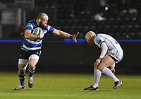 19th February 2021; Recreation Ground, Bath, Somerset, England; English Premiership Rugby, Bath versus Gloucester; Tom Dunn of Bath hands off Willi Heinz of Gloucester