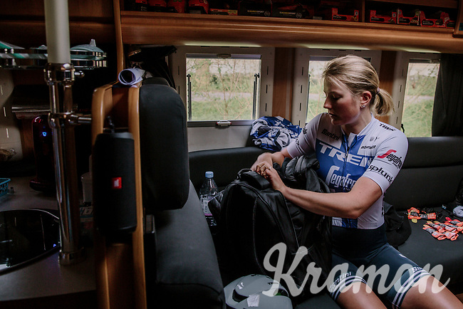 Lotta Lepisto (FIN/Trek-Segafredo) preparing in the team bus before the start<br /> <br /> 8th Gent-Wevelgem In Flanders Fields 2019 <br /> Elite Womens Race (1.WWT)<br /> <br /> One day race from Ypres (Ieper) to Wevelgem (137km)<br /> ©JojoHarper for Kramon