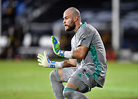LAKE BUENA VISTA, FL - JULY 18: Marko Maric #1 of the Houston Dynamo cuts off the angle and prepares for a shot during a game between Houston Dynamo and Portland Timbers at ESPN Wide World of Sports on July 18, 2020 in Lake Buena Vista, Florida.