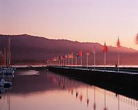 Flag Project - a breakwater at Santa Barbara Harbor. California.