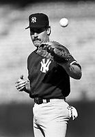 Wade Boggs of the New York Yankees at Anaheim Stadium in Anaheim,California during the 1996 season. (Larry Goren/Four Seam Images)