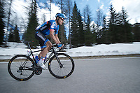 2013 Giro d'Italia.stage 11.Tarvisio - Vajont: 182km..Thomas Danielson (USA) up the final meters of the Sella Ciampigotto (1790m) ..