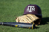 Texas A&M helmet at the NCAA Regional baseball game on June 1, 2012 at Blue Bell Park in College Station, Texas. (Andrew Woolley/Four Seam Images).