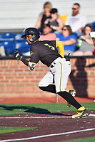 Bristol Pirates Jesus Valdez (3) runs to first base during game two of the Appalachian League, West Division Playoffs against the Johnson City Cardinals at TVA Credit Union Ballpark on August 31, 2019 in Johnson City, Tennessee. The Cardinals defeated the Pirates 7-4 to even the series at 1-1. (Tony Farlow/Four Seam Images)