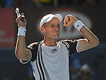 January 25, 2010.Nikolay Davydenko of Russia, celebrates defeating Fernando Verdasco of Spain, 6-2, 7-6, 4-6, 6-7, 6-3 in the fourth round of The Australian Open, Melbourne Park, Melbourne, Australia.
