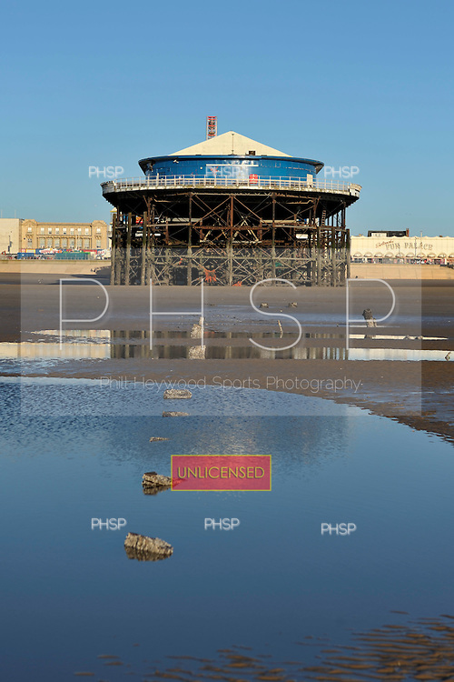 18/03/2011 Rarely seen former jetty supports from Central Pier  are exposed at low tide, Blackpool Lancashire UK.....© Phill Heywood.