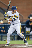 Michigan Wolverines catcher Harrison Wenson (7) at bat against the Bowling Green Falcons on April 6, 2016 at Ray Fisher Stadium in Ann Arbor, Michigan. Michigan defeated Bowling Green 5-0. (Andrew Woolley/Four Seam Images)