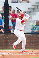 Jose Godoy (25) of the Johnson City Cardinals at bat against the Elizabethton Twins at Cardinal Park on July 27, 2014 in Johnson City, Tennessee.  The game was suspended in the top of the 5th inning with the Twins leading the Cardinals 7-6.  (Brian Westerholt/Four Seam Images)