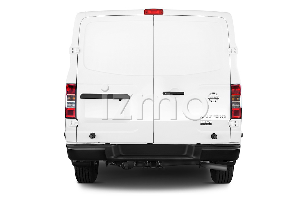 Straight rear view of a 2015 Nissan NV Cargo 2500 Standard Roof S V6 Door Cargo Van Rear View  stock images