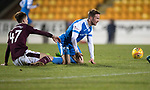 St Johnstone v Hearts…23.12.17…  McDiarmid Park…  SPFL<br />Harry Cochrane brings down Chris Millar for his first yellow card<br />Picture by Graeme Hart. <br />Copyright Perthshire Picture Agency<br />Tel: 01738 623350  Mobile: 07990 594431