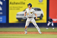 West Virginia Power center fielder Jarred Kelenic (10) leads off second base during a game against the Asheville Tourists at McCormick Field on April 18, 2019 in Asheville, North Carolina. The Power defeated the Tourists 12-7. (Tony Farlow/Four Seam Images)