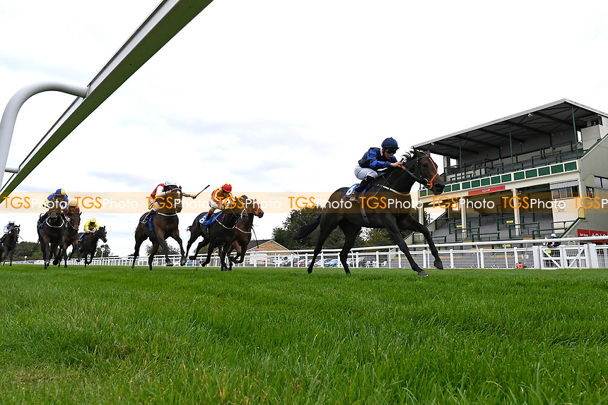 Winner of The Irish Stallion Farms EBF Fillies' Nursery Stakes Rania (8) ridden by Jason Watson and trained by Sylvester Kirkduring Horse Racing at Salisbury Racecourse on 11th September 2020