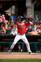Erie SeaWolves center fielder Mike Gerber (17) at bat during a game against the Akron RubberDucks on August 27, 2017 at UPMC Park in Erie, Pennsylvania.  Akron defeated Erie 6-4.  (Mike Janes/Four Seam Images)